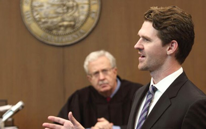 A USC Gould alum presenting his case in a court room